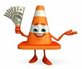Construction Cone Character with dollars — Stockfoto