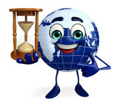 Globe Character with sand clock — Stock Photo