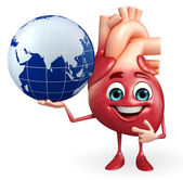 Heart character with globe  — Stock Photo