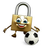 Lock Character with football — Photo