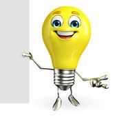 Personagem de lâmpada com sinal — Foto Stock