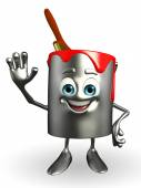 Paint Bucket Character with hello pose — Stock Photo