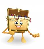 Treasure box character is presenting — Photo