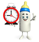 Baby Bottle character with table clock — Stock Photo