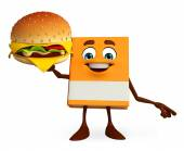 Book Character with burger — Stock Photo