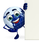 Earth Character with sign — Stock Photo
