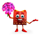 Gift Box Character with flowers — Stock Photo