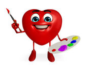Heart Shape character with is painting — Stock Photo