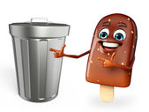 Candy Character With dustbin — Stock Photo