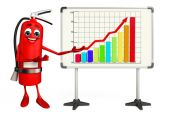 Fire Extinguisher character  with business graph — Foto Stock