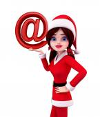 Santa Girl Character with at the rate — Stockfoto