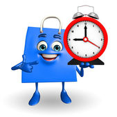Shopping bag character with table clock — Stock Photo