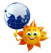 Sun Character With globe — Stock Photo
