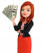 Young Corporate lady with dollars — Foto de Stock