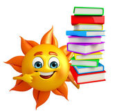 Sun Character With Books pile — Stock Photo