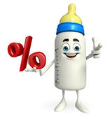 Baby Bottle character with Percentage — Stock Photo