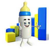 Baby Bottle character with Business graph — Stock Photo