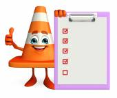 Construction Cone Character with notepad — Stock Photo