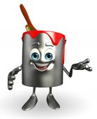 Paint Bucket Character is presenting  — Stock Photo