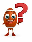 Rubgy ball character with question mark — Stock Photo