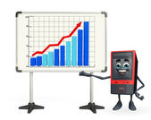 Computer Cabinet Character with business graph — Stockfoto