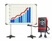 Computer Cabinet Character with business graph — Stok fotoğraf