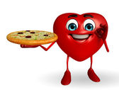 Heart Shape character with pizza — Zdjęcie stockowe