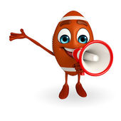 Rubgy ball character with Loudspeaker — Stock Photo
