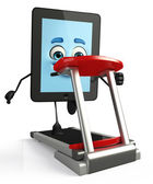 Tab Character with walking machine — Stockfoto