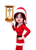 Santa Girl Character with sand clock — Stock Photo