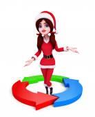 Santa Girl Character with circular graph — Stock Photo