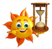 Sun Character With sand clock — Stock fotografie