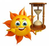 Sun Character With sand clock — Stock Photo