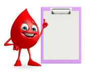 Blood Drop Character with notepad — Stock Photo