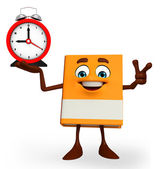 Book Character with table clock — Stock Photo
