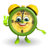 Table clock character with victory sign — Stock Photo