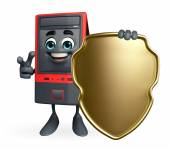 Computer Cabinet Character with shield — Stock Photo