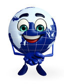 Globe Character with promise pose — Stock Photo
