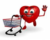 Heart Shape character with trolley — Zdjęcie stockowe