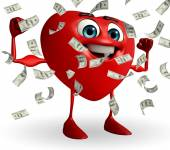 Heart Shape character with dollers — Stock Photo