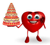 Heart Shape character with cake — Stock Photo