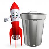 Rocket character with dustbin — Stock Photo
