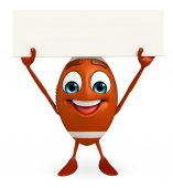 Rubgy ball character with sign board — Stock Photo