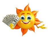 Sun Character With dollars — Stock Photo
