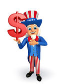 Uncle Sam with dollar sign   — Stock Photo