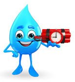 Water Drop Character with Bomb — Stock Photo