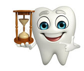 Teeth character with sand clock — Stock Photo