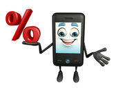 Mobile character with Percentage — Stok fotoğraf