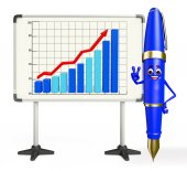 Pen Character with display board — Stock Photo