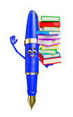 Pen Character with Books pile — Foto Stock